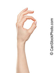 Woman hand okay - Woman hand showing okay or perfect gesture