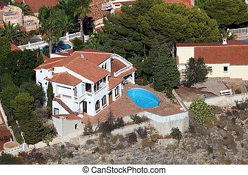 Aerial view of a vacation villa in Spain