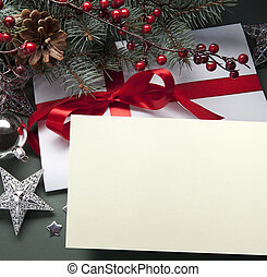 Art Christmas greeting card - Christmas decorations live...