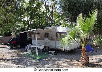 European mobile home on a camping site