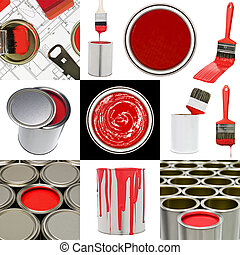 oggetti, pittura, rosso