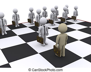 Business chess - 3d businessmen as pawns on chessboard