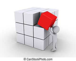 Completing the cubes - 3d person putting red cube with other...