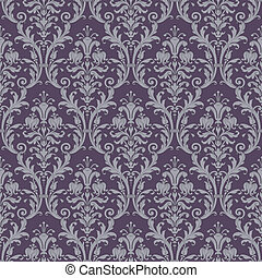 damask seamless pattern in purple and gray in editable...
