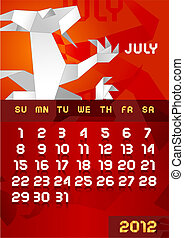 Origami dragon Calendar 2012 July Vector EPS10