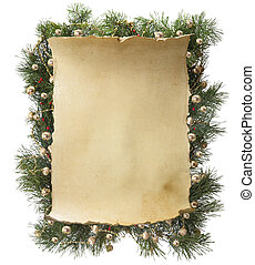 Christmas frame - frame made of fir branches