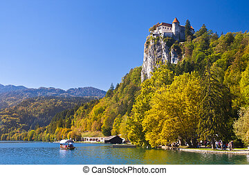Panorama of Bled in autumn. - Colorful Bled in fall, with...