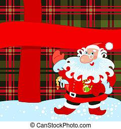 Santa and big present