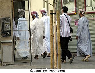 Abajo, ambulante, musulmán, calle