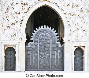 Hassan II Mosque entrance - Oriental architecture details on...