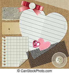 scrapbooking set with realistic romantic elements, vector