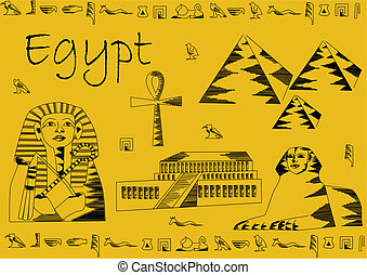 Egypt postcard - Postcard from Egypt with sphinx, pharaoh...