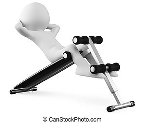 Athlete in a sit-ups bench front view. Rendered on a white...