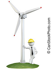Man leaning on a wind turbine. Rendered on a white...