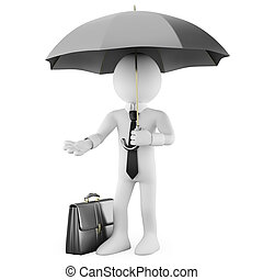 Businessman with an umbrella and a briefcase. Rendered on a...