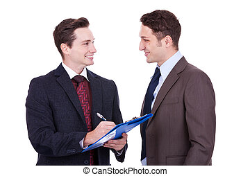 business people standing working in team