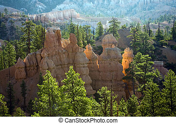 Bryce Canyon hoodoos in the first rays of sun - Bryce Canyon...
