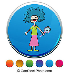 Crying Girl With Bad Perm Button Set