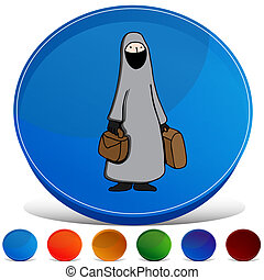 Muslim Woman Wearing Burka Gemstone Button Set