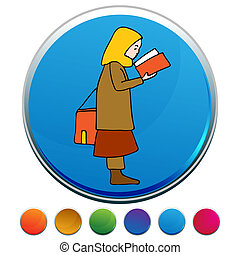 Muslim Girl Reading Book Button Set