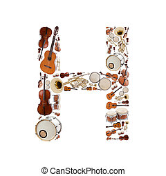 Musical instruments alphabet on white background Letter H