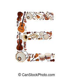 Musical instruments alphabet on white background. Letter E