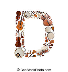 Musical instruments alphabet on white background. Letter D