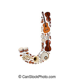 Musical instruments alphabet on white background. Letter J
