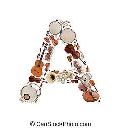 Musical instruments alphabet on white background Letter A