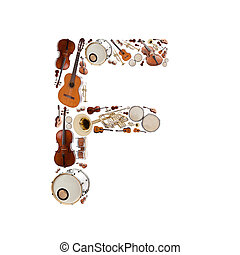 Musical instruments alphabet on white background. Letter F