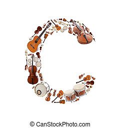 Musical instruments alphabet on white background Letter C