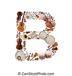 Musical instruments alphabet on white background. Letter B