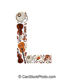 Musical instruments alphabet on white background Letter L