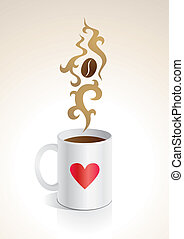 Coffee mug - Illustration mug with hot coffee