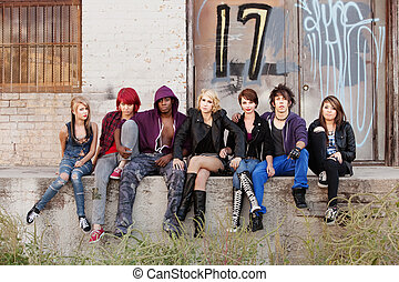 Serious looking group of young punk teens - Bunch of punk...