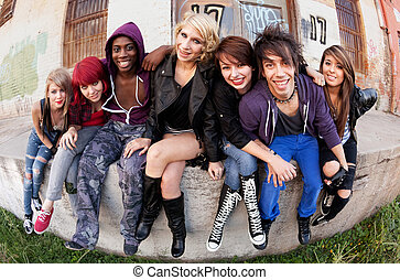 Group of Teens Outside