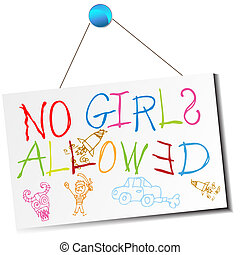No Girls Allowed Sign - An image of a child's no girls...
