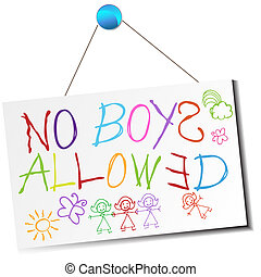 No Boys Allowed Sign - An image of a child's no boys allowed...