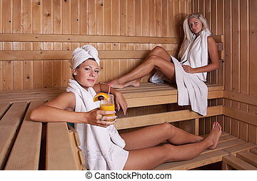 two women enjoying a hot sauna, having a casual chat