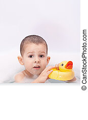 Boy playing in the water