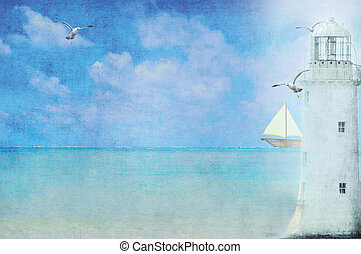lighthouse with seagulls - Lighthouse with sailboat and...