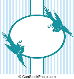 Invitation with birds on blue