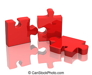Three parts of a puzzle Objects over white
