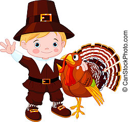 Cute pilgrim and turkey - Illustration of cute pilgrim hug...