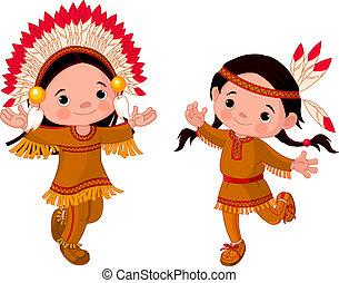 norteamericano, indios, bailando