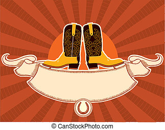 Cowboy boots card - Cowboy shoes with scroll for text