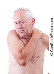 man with neck pain - Senior man with neck pain, isolated in...