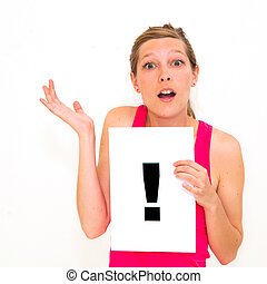 exclamation point - portrait young woman with board...