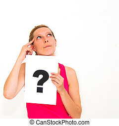 question mark sign - portrait young woman with board...