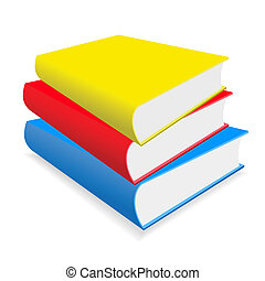 The books on a table - Three multicoloured books lay on a...